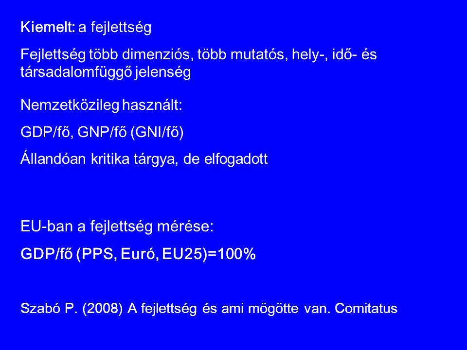 EU-ban a fejlettség mérése: GDP/fő (PPS, Euró, EU25)=100%