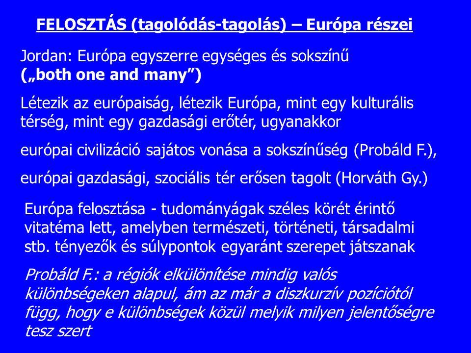 FELOSZTÁS (tagolódás-tagolás) – Európa részei