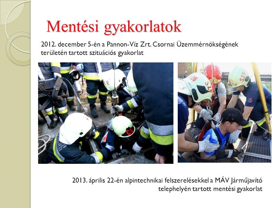 Mentési gyakorlatok 2012. december 5-én a Pannon-Víz Zrt. Csornai Üzemmérnökségének területén tartott szituációs gyakorlat.