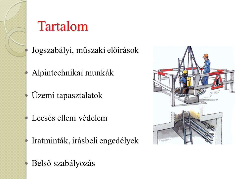 Tartalom Jogszabályi, műszaki előírások Alpintechnikai munkák