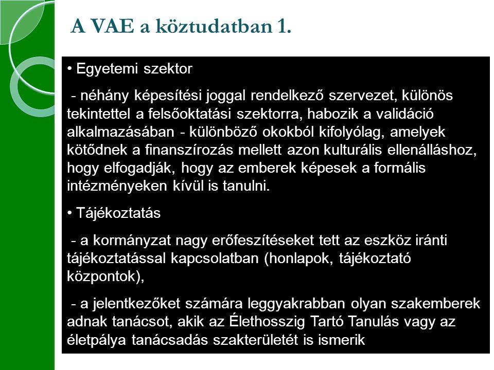 A VAE a köztudatban 1. Egyetemi szektor
