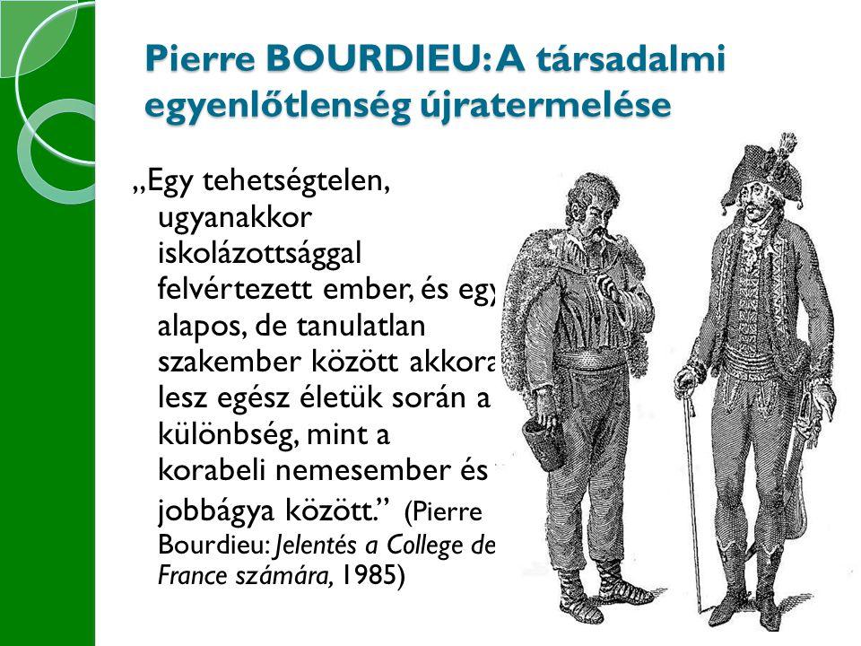 Pierre BOURDIEU: A társadalmi egyenlőtlenség újratermelése