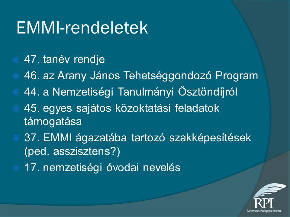 EMMI-rendeletek 47. tanév rendje