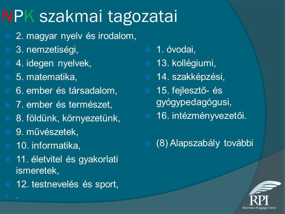 NPK szakmai tagozatai 2. magyar nyelv és irodalom, 3. nemzetiségi,