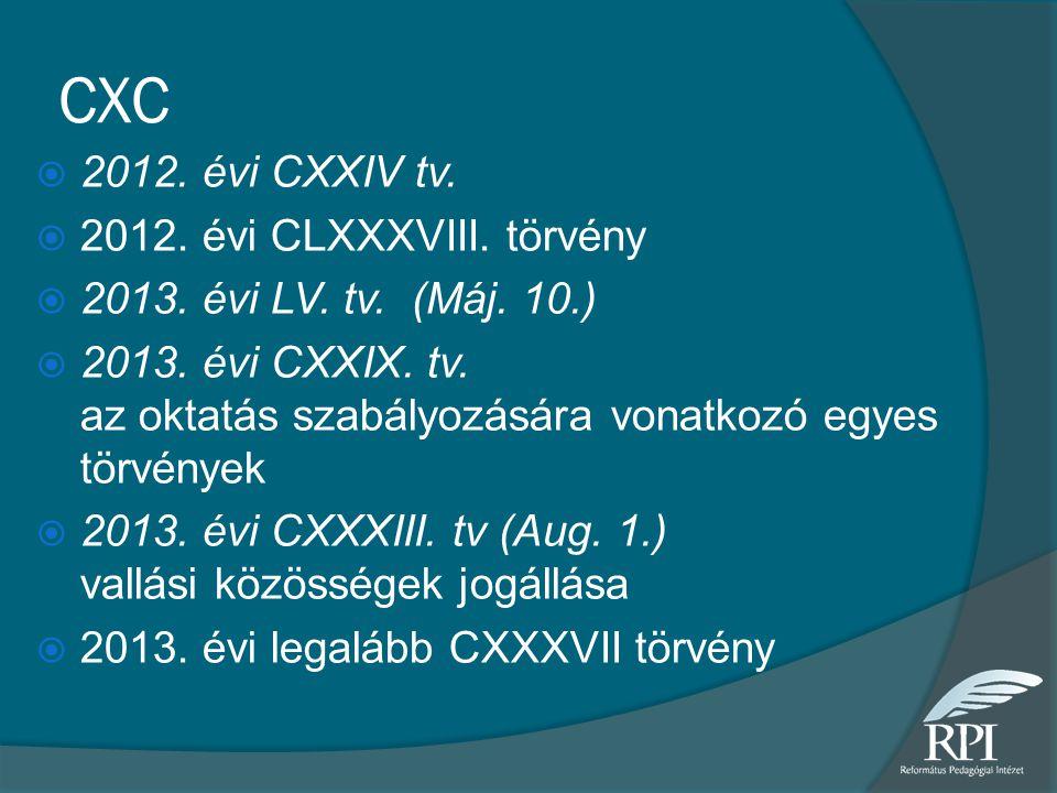CXC 2012. évi CXXIV tv. 2012. évi CLXXXVIII. törvény