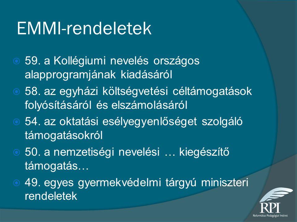 EMMI-rendeletek 59. a Kollégiumi nevelés országos alapprogramjának kiadásáról.