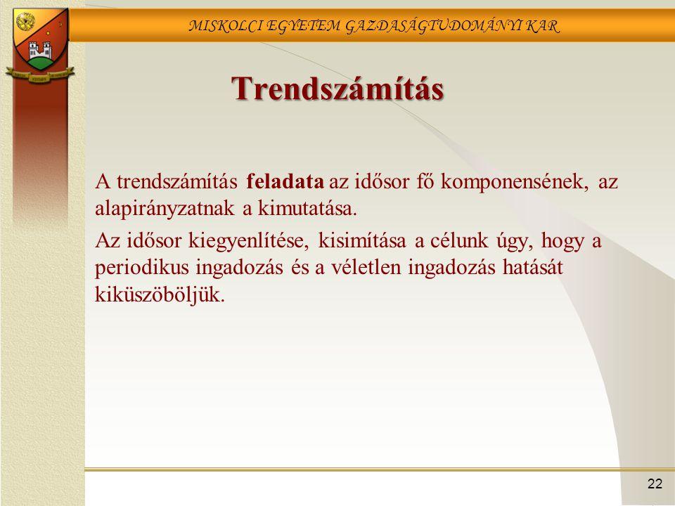 Trendszámítás A trendszámítás feladata az idősor fő komponensének, az alapirányzatnak a kimutatása.