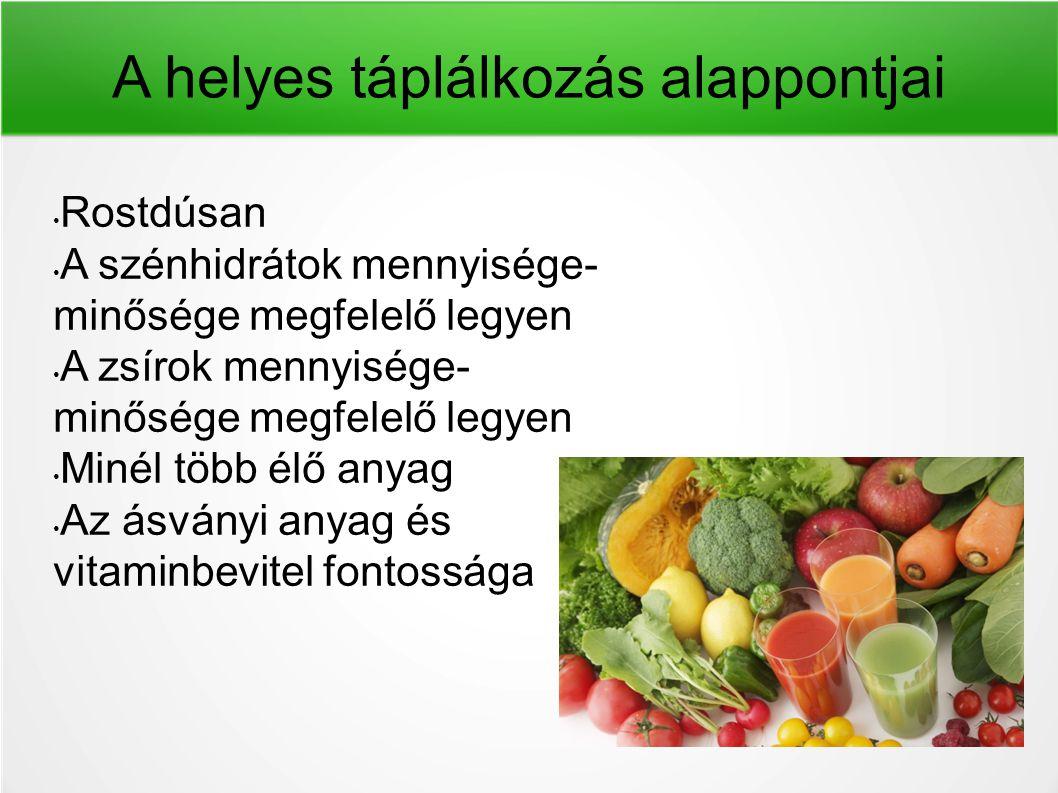A helyes táplálkozás alappontjai