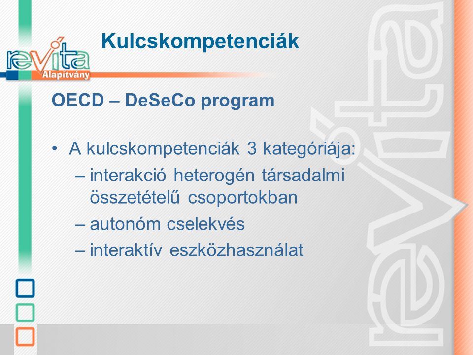 Kulcskompetenciák OECD – DeSeCo program