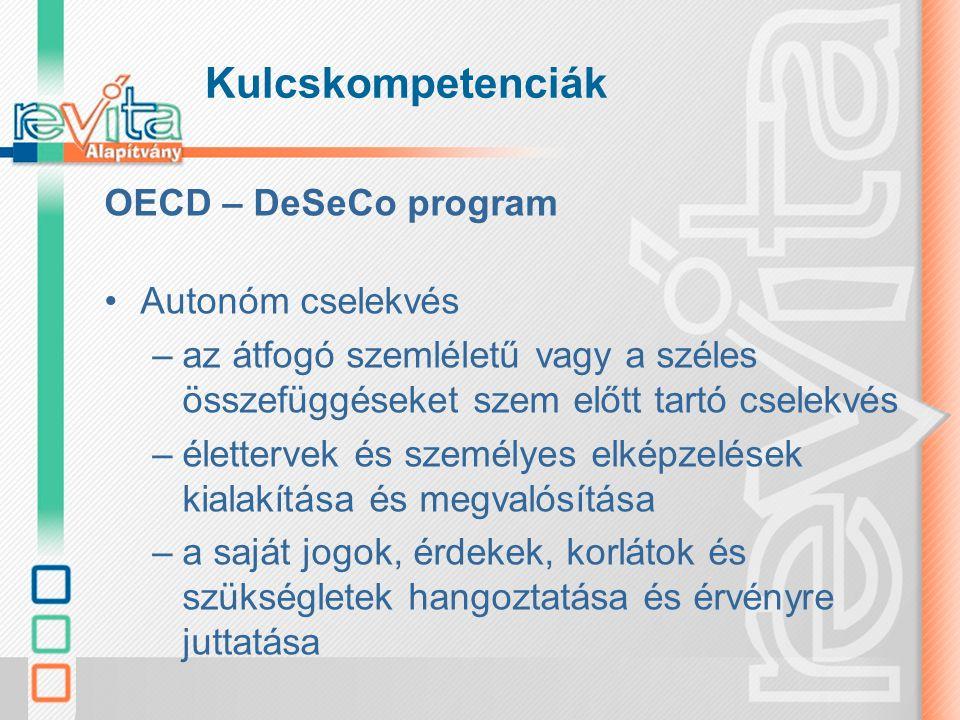 Kulcskompetenciák OECD – DeSeCo program Autonóm cselekvés