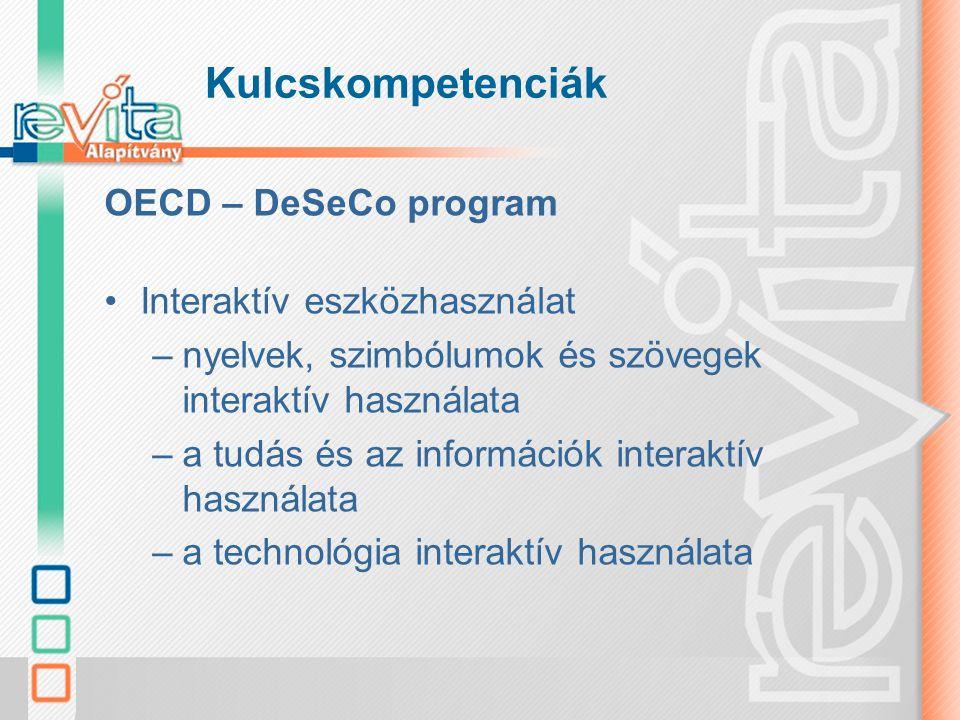 Kulcskompetenciák OECD – DeSeCo program Interaktív eszközhasználat
