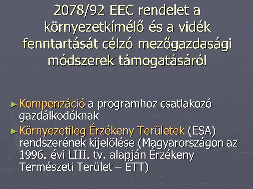 2078/92 EEC rendelet a környezetkímélő és a vidék fenntartását célzó mezőgazdasági módszerek támogatásáról