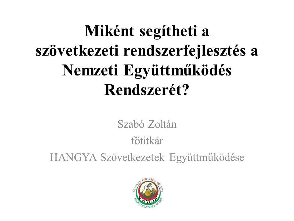 Szabó Zoltán főtitkár HANGYA Szövetkezetek Együttműködése