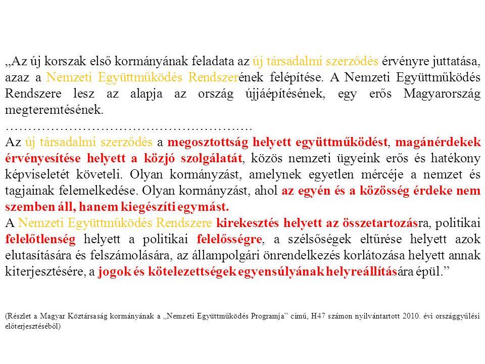 """""""Az új korszak első kormányának feladata az új társadalmi szerződés érvényre juttatása, azaz a Nemzeti Együttműködés Rendszerének felépítése. A Nemzeti Együttműködés Rendszere lesz az alapja az ország újjáépítésének, egy erős Magyarország megteremtésének."""