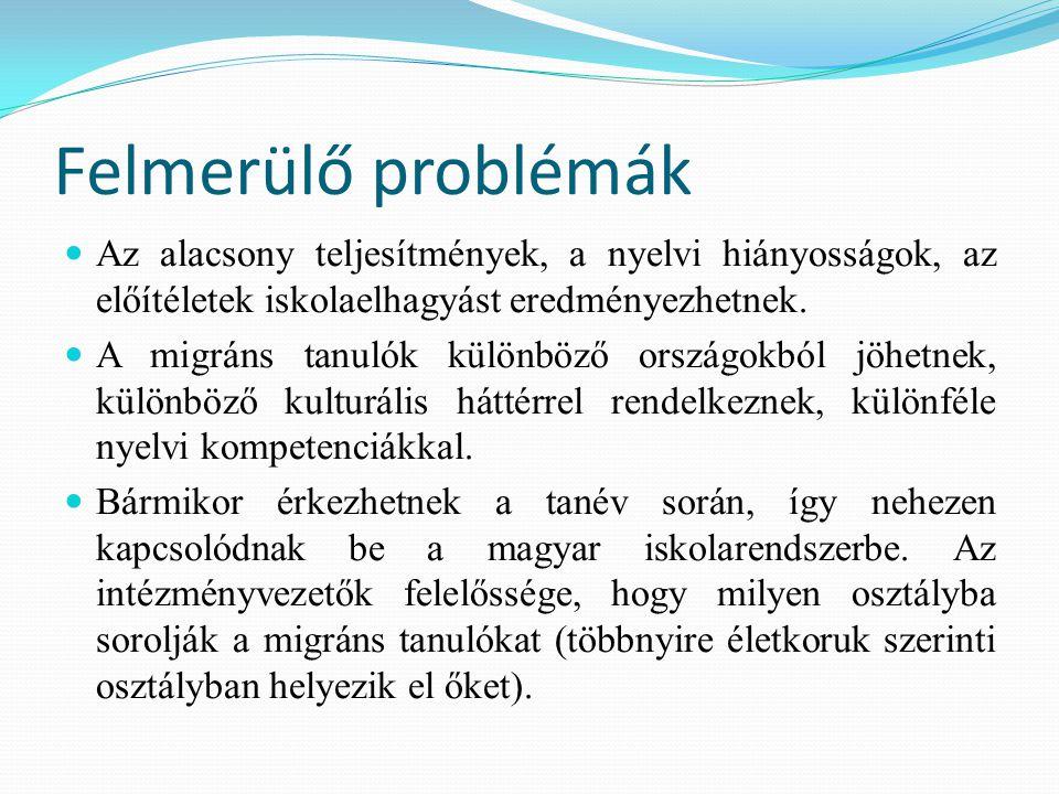 Felmerülő problémák Az alacsony teljesítmények, a nyelvi hiányosságok, az előítéletek iskolaelhagyást eredményezhetnek.