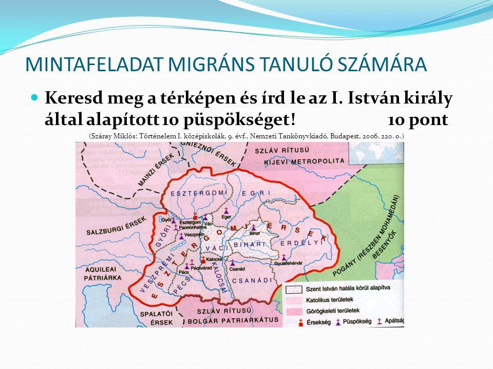 MINTAFELADAT MIGRÁNS TANULÓ SZÁMÁRA
