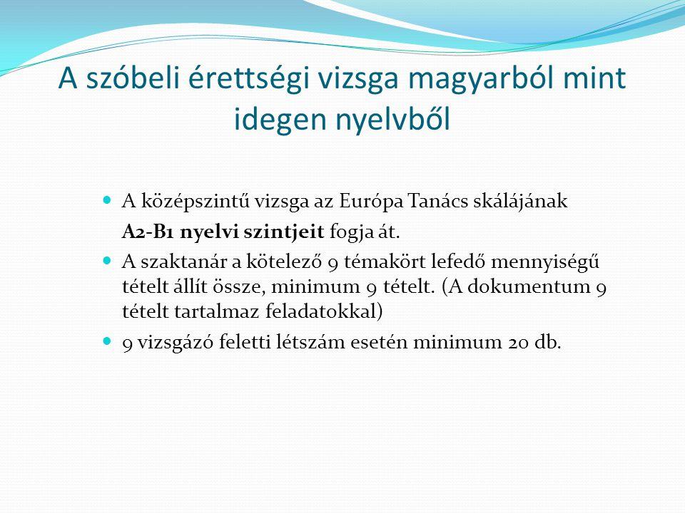 A szóbeli érettségi vizsga magyarból mint idegen nyelvből
