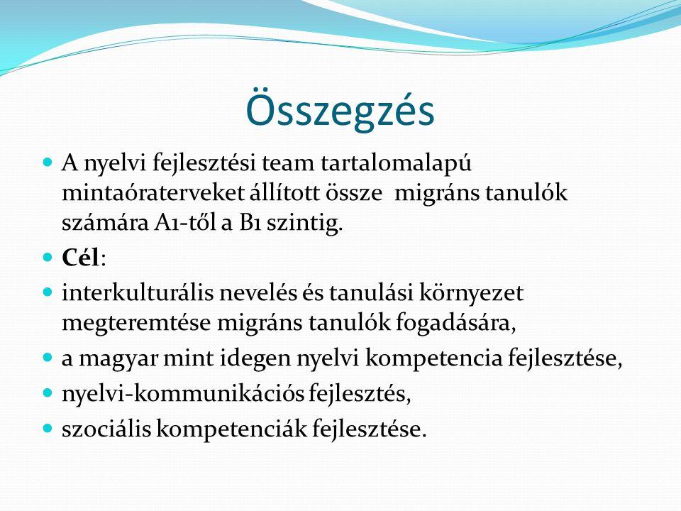 Összegzés A nyelvi fejlesztési team tartalomalapú mintaóraterveket állított össze migráns tanulók számára A1-től a B1 szintig.