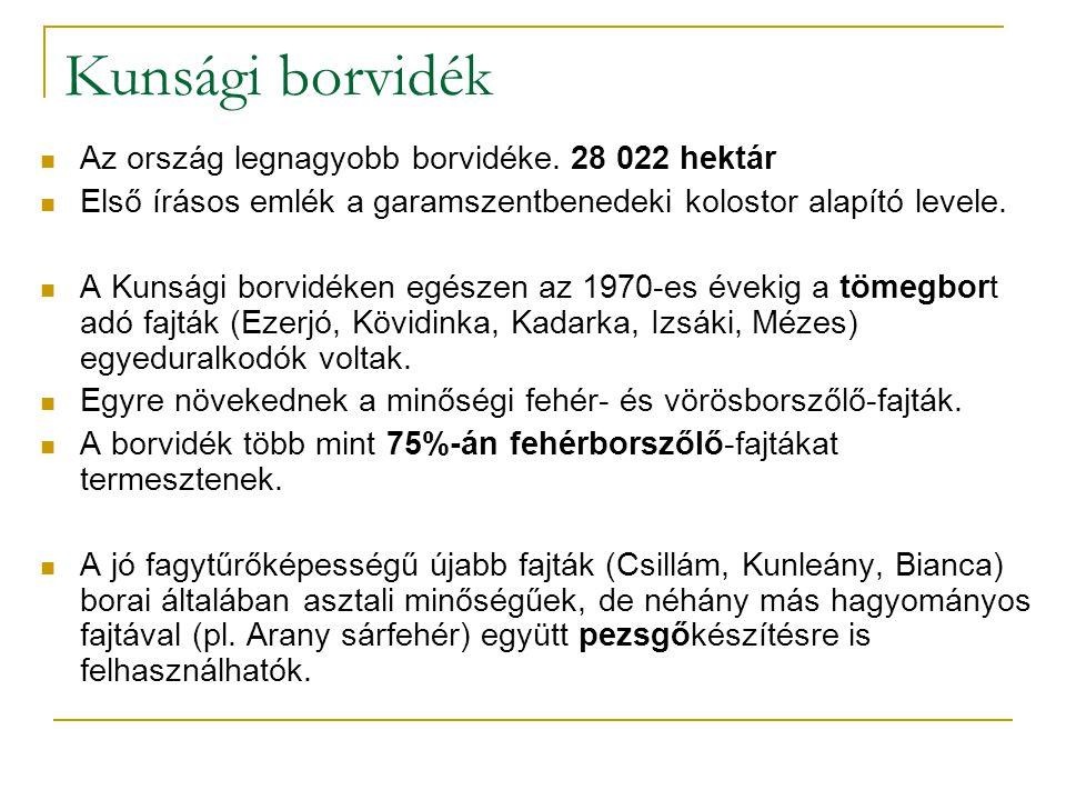 Kunsági borvidék Az ország legnagyobb borvidéke. 28 022 hektár