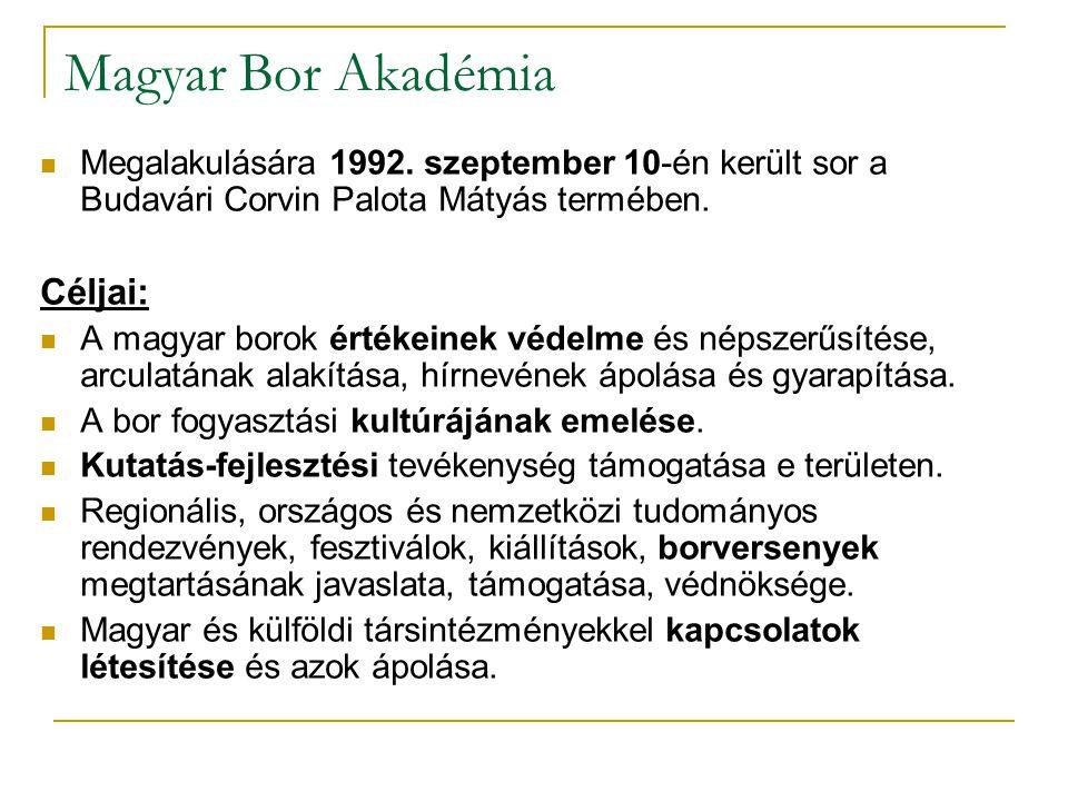 Magyar Bor Akadémia Céljai: