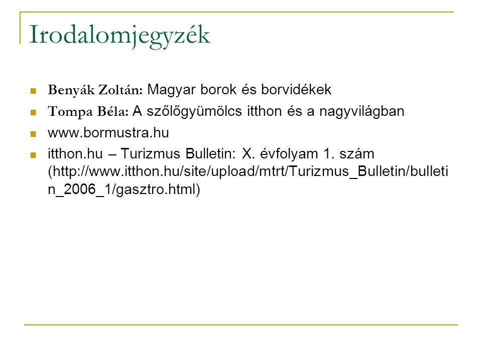 Irodalomjegyzék Benyák Zoltán: Magyar borok és borvidékek