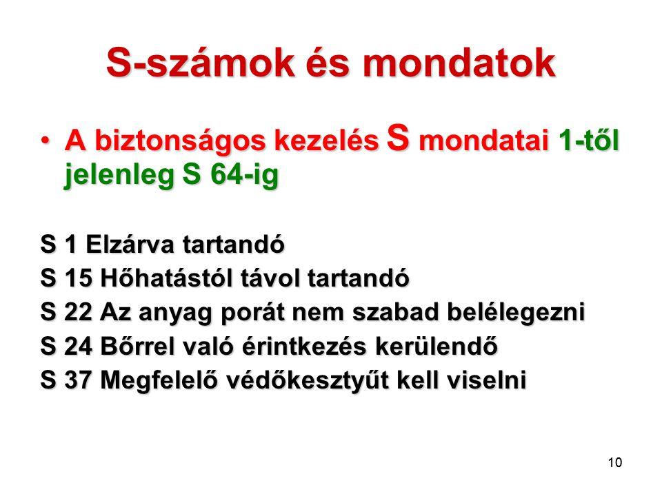 S-számok és mondatok A biztonságos kezelés S mondatai 1-től jelenleg S 64-ig. S 1 Elzárva tartandó.