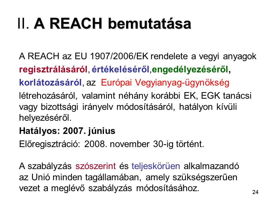 II. A REACH bemutatása A REACH az EU 1907/2006/EK rendelete a vegyi anyagok. regisztrálásáról, értékeléséről,engedélyezéséről,