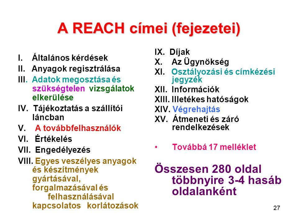 A REACH címei (fejezetei)
