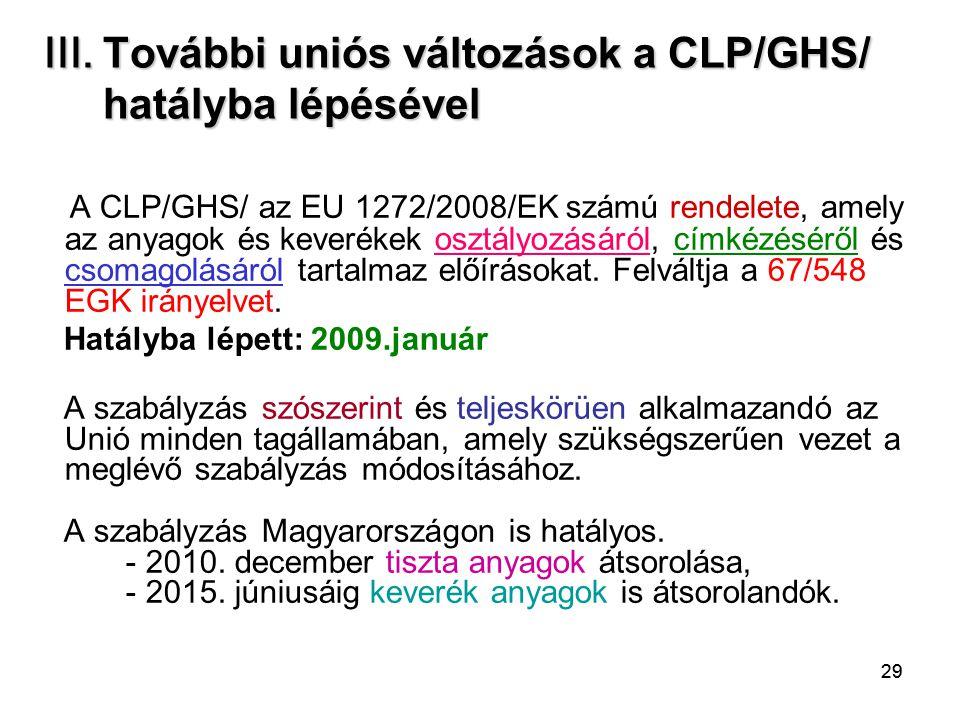 III. További uniós változások a CLP/GHS/ hatályba lépésével