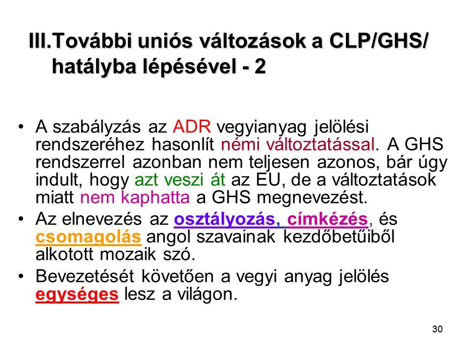 III.További uniós változások a CLP/GHS/ hatályba lépésével - 2