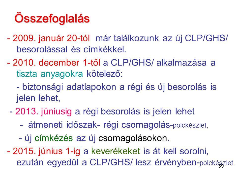 Összefoglalás - 2009. január 20-tól már találkozunk az új CLP/GHS/ besorolással és címkékkel.