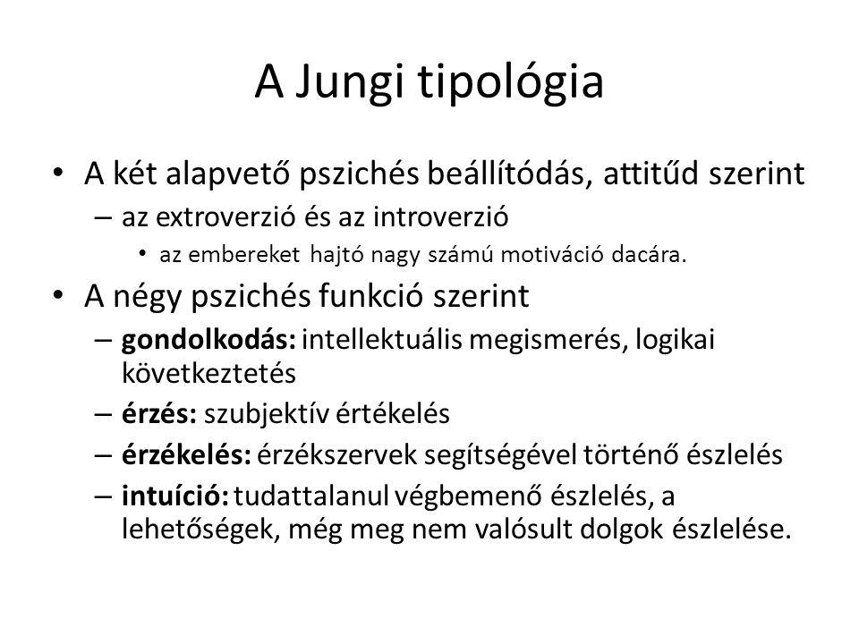 A Jungi tipológia A két alapvető pszichés beállítódás, attitűd szerint