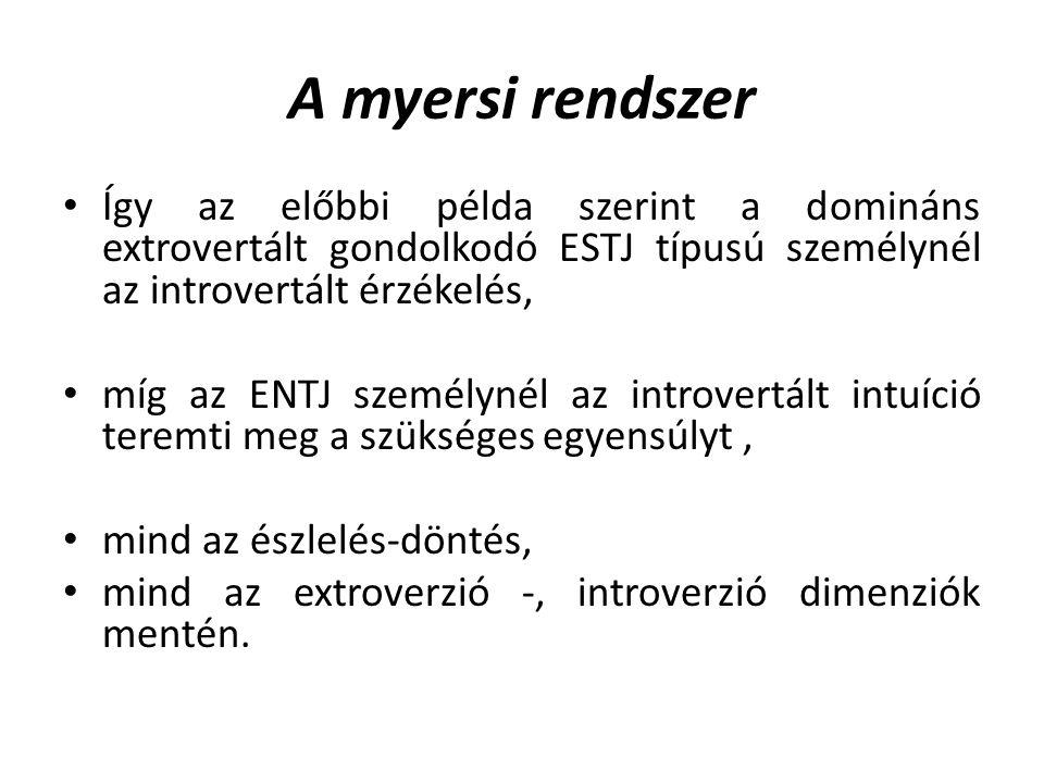 A myersi rendszer Így az előbbi példa szerint a domináns extrovertált gondolkodó ESTJ típusú személynél az introvertált érzékelés,