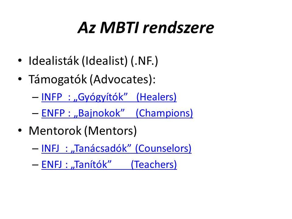 Az MBTI rendszere Idealisták (Idealist) (.NF.) Támogatók (Advocates):