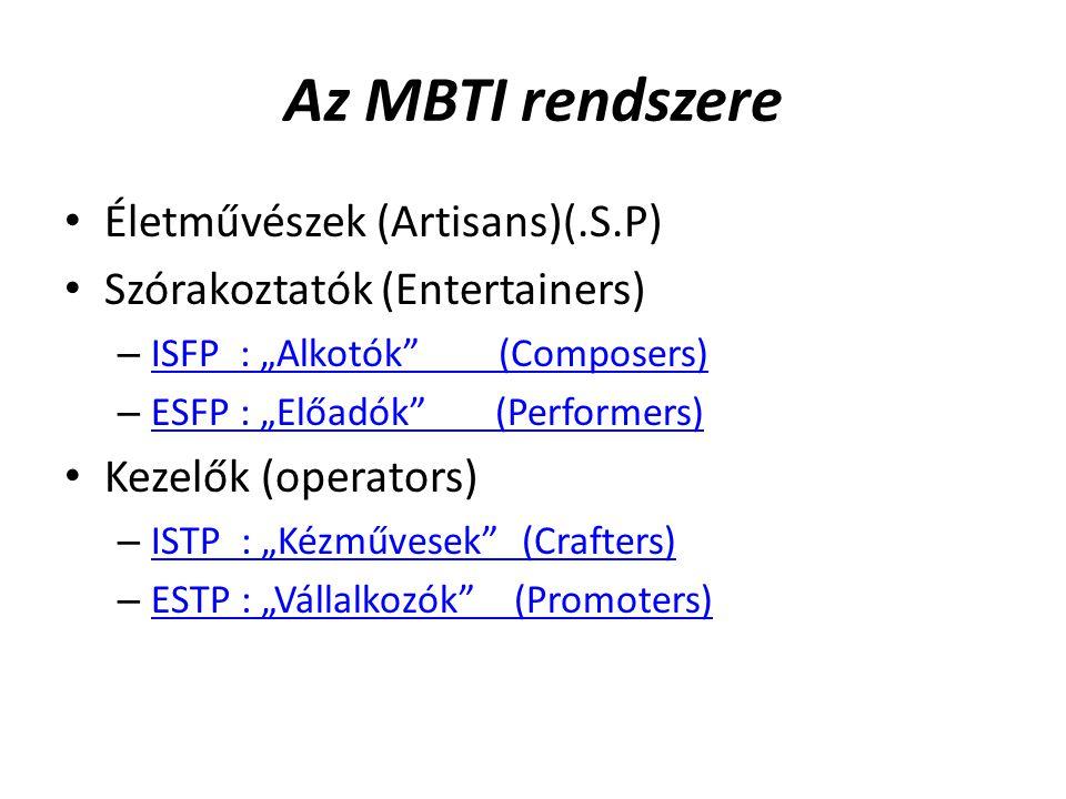 Az MBTI rendszere Életművészek (Artisans)(.S.P)