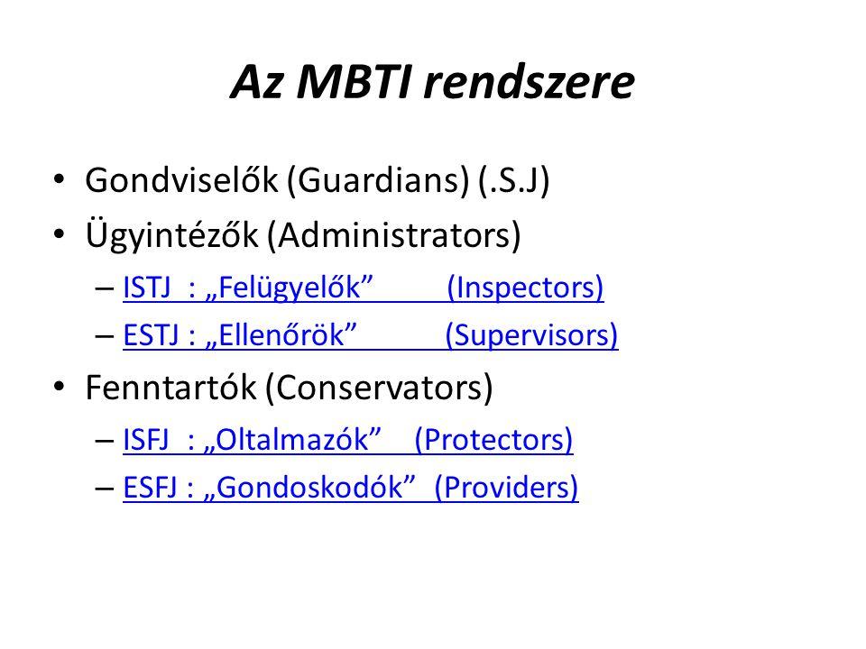 Az MBTI rendszere Gondviselők (Guardians) (.S.J)