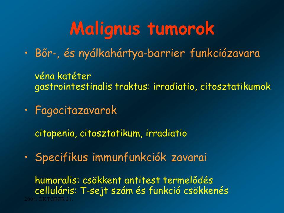 Malignus tumorok Bőr-, és nyálkahártya-barrier funkciózavara véna katéter gastrointestinalis traktus: irradiatio, citosztatikumok.