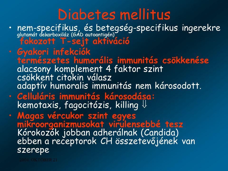 Diabetes mellitus nem-specifikus, és betegség-specifikus ingerekre glutamát dekarboxiláz (GAD autoantigén) fokozott T-sejt aktiváció.