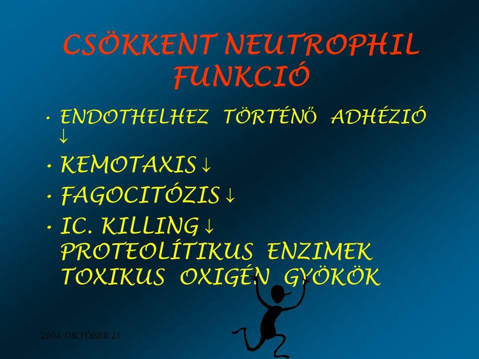CSÖKKENT NEUTROPHIL FUNKCIÓ