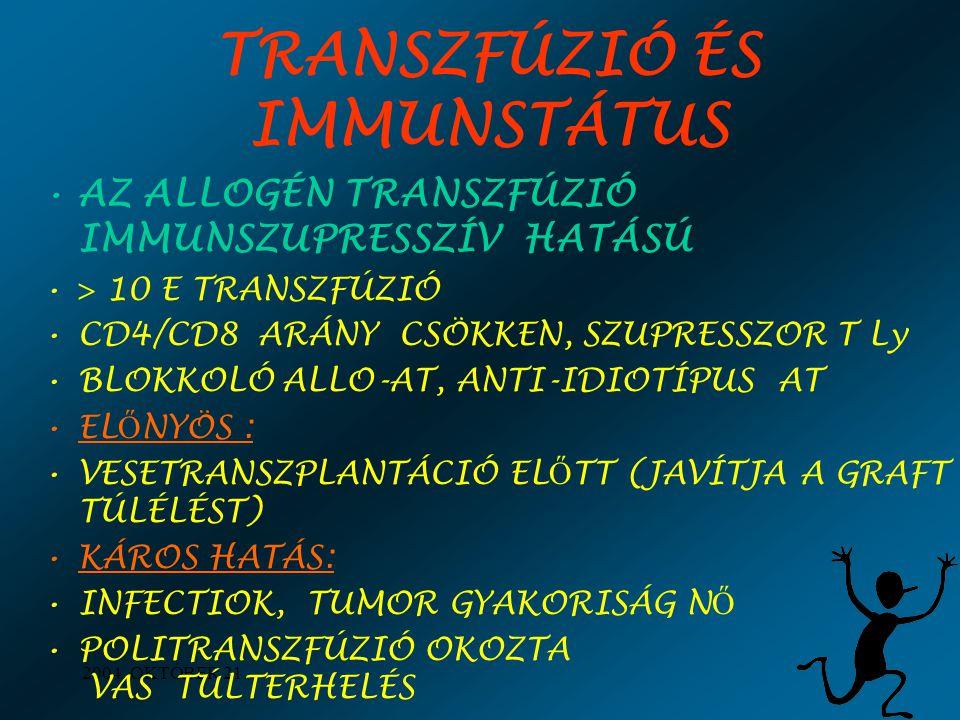 TRANSZFÚZIÓ ÉS IMMUNSTÁTUS