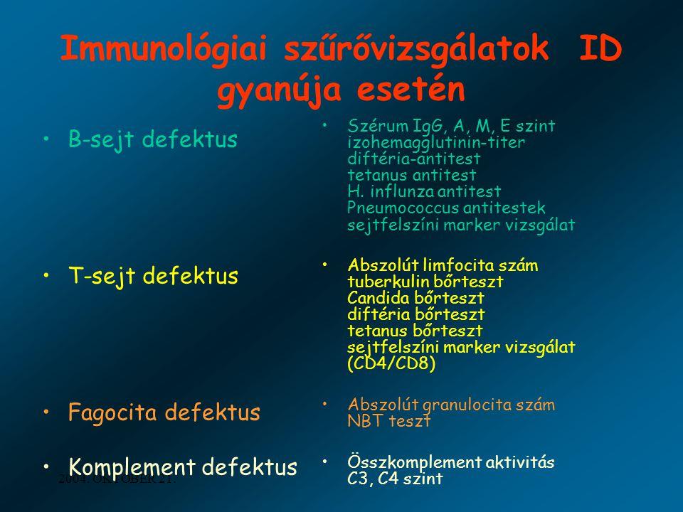 Immunológiai szűrővizsgálatok ID gyanúja esetén