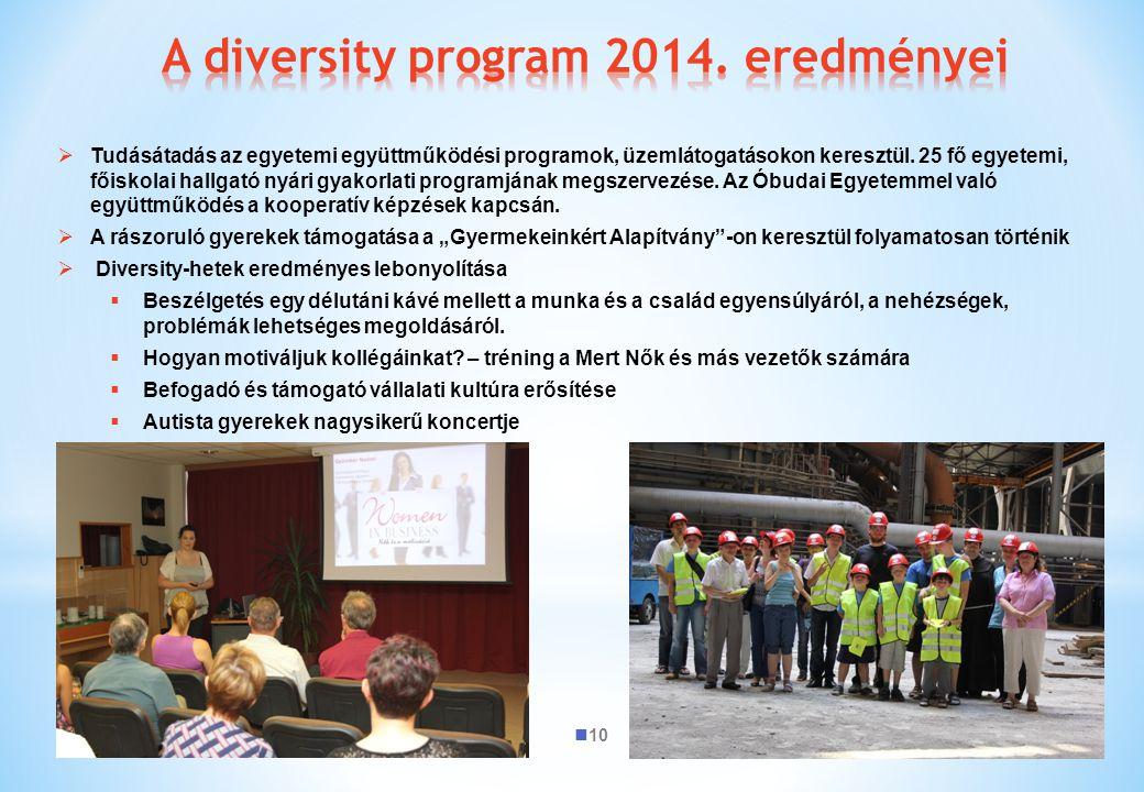 A diversity program 2014. eredményei
