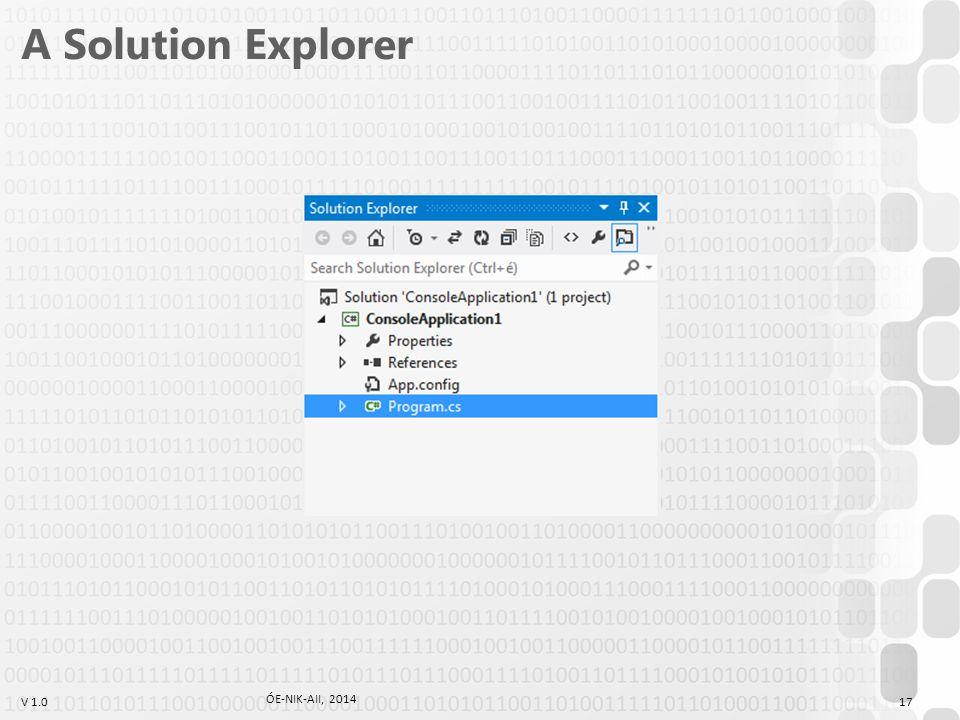 A Solution Explorer ÓE-NIK-AII, 2014
