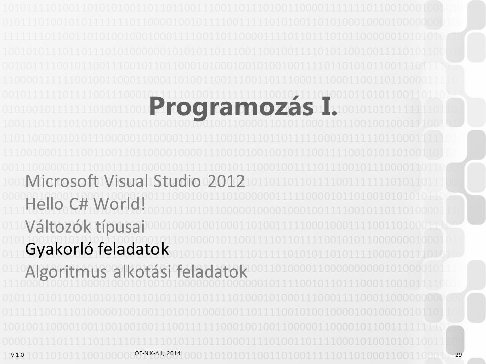 Programozás I. Microsoft Visual Studio 2012 Hello C# World!