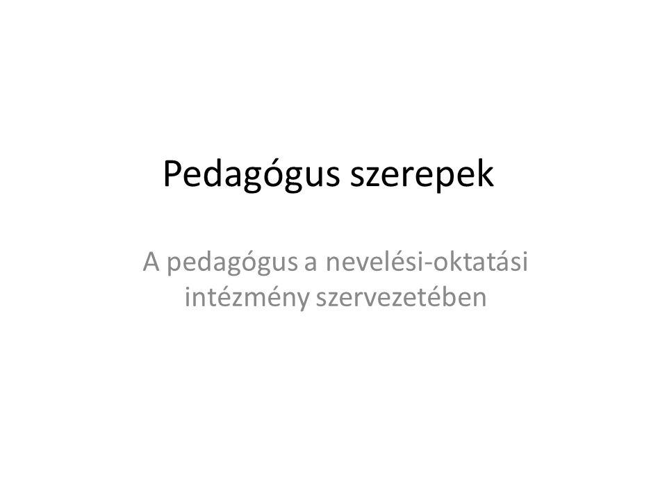 A pedagógus a nevelési-oktatási intézmény szervezetében