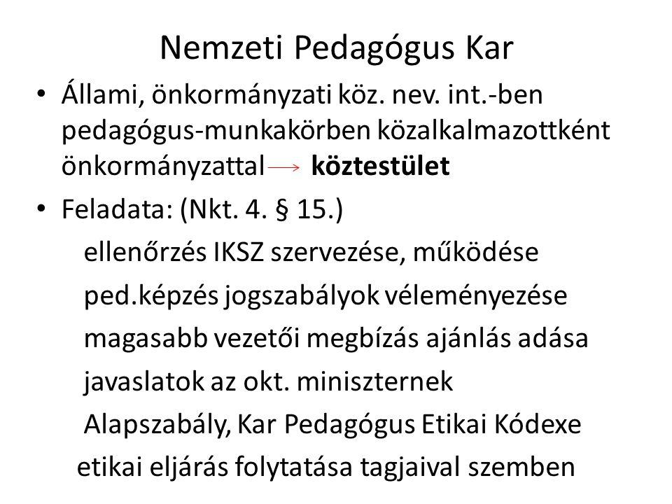 Nemzeti Pedagógus Kar Állami, önkormányzati köz. nev. int.-ben pedagógus-munkakörben közalkalmazottként önkormányzattal köztestület.