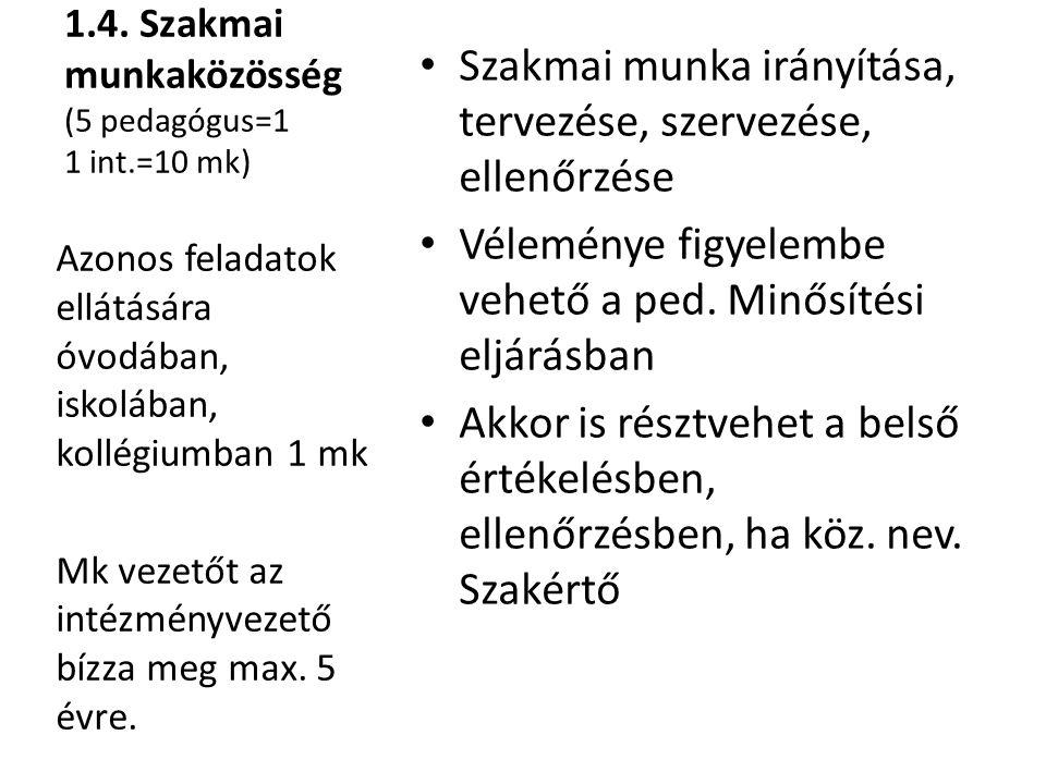 1.4. Szakmai munkaközösség (5 pedagógus=1 1 int.=10 mk)