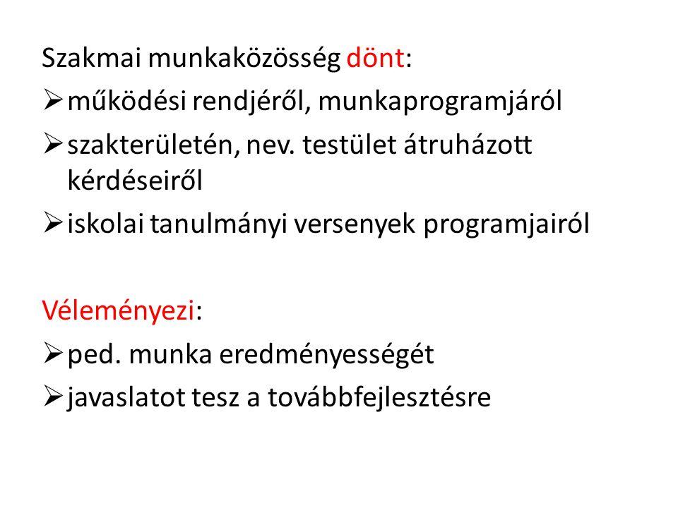 Szakmai munkaközösség dönt: