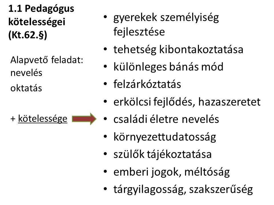 1.1 Pedagógus kötelességei (Kt.62.§)