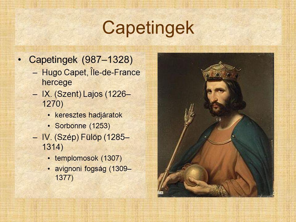 Capetingek Capetingek (987–1328) Hugo Capet, Île-de-France hercege
